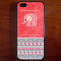 Aztec Geometric Tribal Pink Elephant Watermelon , iPhone 5 Case , iPhone 5s Case , iPhone 4 , iPhone 4s Case , iPhone 5c ,Samsung Galaxy S4