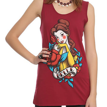 Disney Beauty And The Beast Belle Tattoo Girls Tank Top