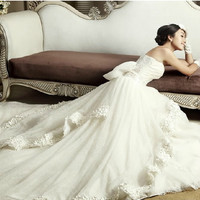 Couture Ivory White Lace Organza Formal Wedding Dress Bridal Gown Sale SKU-118091
