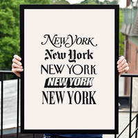 "New York Typographic Wall Art Decor ""New York"" Typography Poster"