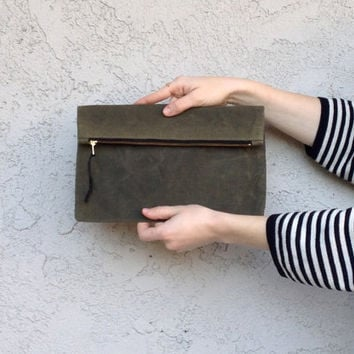 Waxed Canvas Oversized Clutch Purse // Military Green