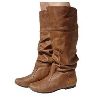 Women's Qupid Cognac Leatherette Basic Slouchy Knee High Flat Boot (Neo144)