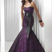 Sexy strapless purple lace Mermaid  Prom Party Ball Dress Bridesmaid Cocktail