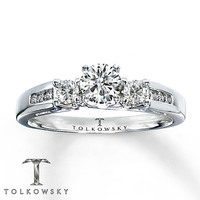 Tolkowsky Engagement Ring 5/8 ct tw Diamonds 14K White Gold