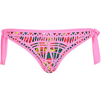 River Island Womens Pink laser cut bikini bottoms