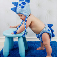 Crochet Dinosaur Hat and Diaper Cover Set - Newborn, Infant, Toddler