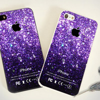 iPhone Case - Iphone 4 Case - iPhone 4s Case - iPhone 5 case - Ombre Fade Pattern Glitter - print on hard plastic