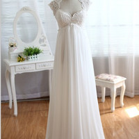Vintage Ivory Lace Empire Waist Chiffon Wedding Dress Floor Length Keyhole Dress