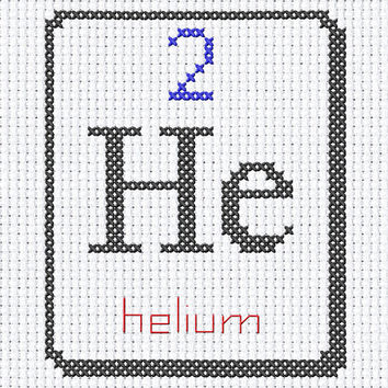 He helium 2 chemical element digital cross stitch PDF instant download printable art 6x8