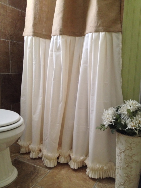 Burlap Shower Curtain Shabby Chic From