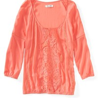 Sheer 3/4 Sleeve Peasant Top