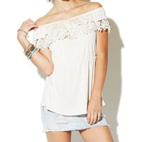 Off The Shoulder Crochet Trim Top | Wet Seal