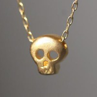 Baby Skull Necklace in Gold Vermeil by michellechangjewelry