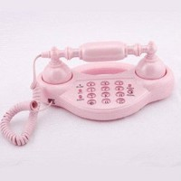 Lovely Pink Princess Corded Phone Cute Push-button Corded Telephone