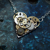 Clockwork Heart Necklace Love o Matic by a mechanical mind