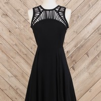 Altar'd State Little Black Lattice Dress - Fit and Flare - Dresses - Apparel
