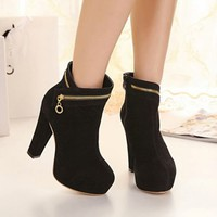 Women New High Thick Heels Black Side Zipper Platforms Short Boots Fleece Shoes