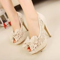 Women's High Heel Lace Shoes Stiletto Peep-toe Bowknot Sandals 1no US7/EU37.5