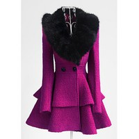 Elegant Turn-Down Collar Fake Fur Embellished Long Sleeve Ruffle Coat For Women
