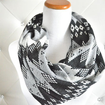 Gray Aztec Chunky chevron infinity scarf -Warm knit scarves-Ready to ship