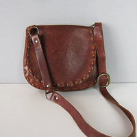Vintage 60s 70s Hippie Leather Saddle Flap Bag 1960s 1970s Woodstock Bohemian Laced Shoulder Purse Hobo
