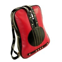 Fashion Cute Preppy Contrast Color Guitar Stitching Studded Backpack Shoulder Bag