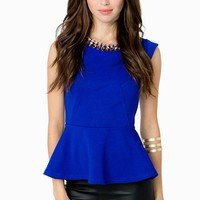 Jewel Neck Peplum Top