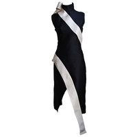 2001 ALEXANDER MCQUEEN black silk gazar dress with cream sash