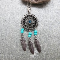 Antique Silver Dream Catcher Necklace , Feather Necklace, Beads Necklace ,Native American Jewelry