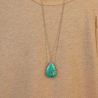 Long Turquoise Necklace // TURQUOISE HEAVEN Stone Pendant // Choose Your Chain // Extra Long Necklace Option