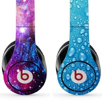 Skin Kit for Studio Beats By Dr. Dre - Includes 2 Designs - (Headsets Not Included) - Universe & Water Drops