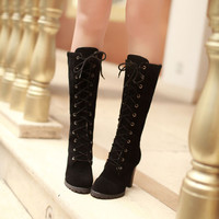 Womens Mid Calf Lace Up Boots Block High Heels Military Combat Stylish Boots