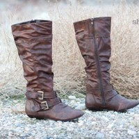 ForeverLink Tamika-52 Slouchy Buckle Knee High Boot (Brown) - Shoes 4 U Las Vegas