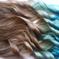 "Mermaid Hair, Ombre Hair Extensions, Dark Blonde Ombre Hair, Pastel Blue faded into Ocean Blue, 7 Pieces,18""/Customize your Base"