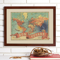 Bon Voyage Vintage Wall Map Art