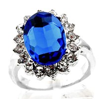 Vintage Sapphire Crystal Gorgeous Princess Royal Ring Size 7