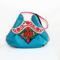 Vintage Embroidery and Leather Bag - Large Teal Boho Purse