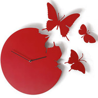 Butterfly Clock in Red - Susanne Philippson clock with three butterflies