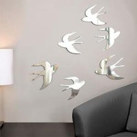 Umbra Tweet - funky wall decor ? 6 chrome birds set