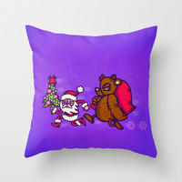 Happy Holidays Santa and Bear Throw Pillow by chobopop