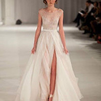 2014 New Fantasy Elie Saab Scoop Tank Split Tulle Evening Fromal Celebrity Dress