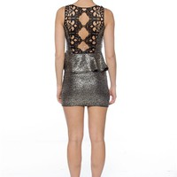 Glam Glory Crochet Back Glitter Peplum Dress - Silver