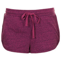 PURPLE MARL JERSEY RUNNER SHORTS