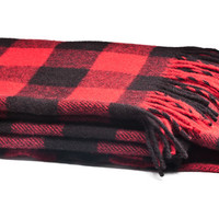 Faribault Buffalo Check Blanket (Red)