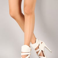 Wild Diva Lounge Adriane-63 Buckle Strappy Stiletto Heel