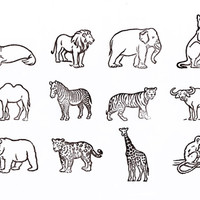 Present&Correct - Animal Rubber Stamps