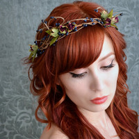 Woodland crown, rustic wedding head piece, plum rose bud and navy pip tiara, hair accessory