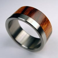 Titanium and Wood wedding ring -- Titanium Stripe