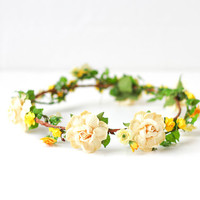 yellow rose flower crown - floral circlet, summer floral crown, floral headpiece, wedding bridal festival headband.