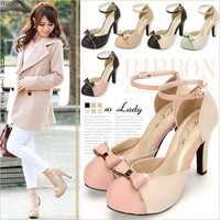 Cute GOLD Ribbon ankle pumps E◆1/31 ships planned